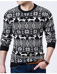 tanie Męskie swetry i swetry rozpinane-Męskie Wzornictwo chińskie Okrągły dekolt Pulower Wzór zwierzęcy