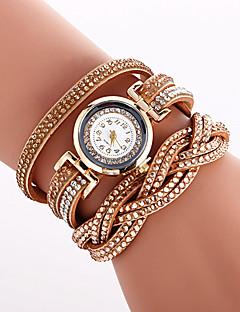 Kadın's Moda Saat Bilezik Saat Benzersiz Yaratıcı İzle Gündelik Saatler Quartz PU Bant Eski Tip İhtişam Lüks Zarif Havalı Günlük Yaratıcı