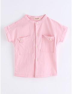 billige Barns Moteklær-Gutt T-skjorte Helfarge Gitter Bomull Sommer Kort Erme Rosa
