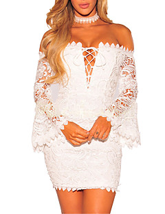 Women's Party Going out Club Sexy Simple Street chic Bodycon DressSolid Boat Neck Mini Long Sleeve Lace Backless Grace Cut Out Spring Fall Mid Rise
