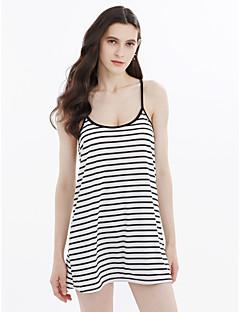baratos Ponta de Estoque-Mulheres Algodão Camiseta Vestido - Frente Única, Listrado Com Alças Acima do Joelho