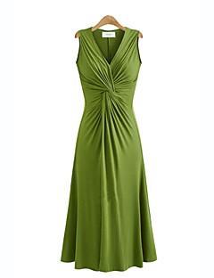 レディース ストリートファッション プラスサイズ スウィング ドレス,ソリッド Vネック ミディ ノースリーブ ニット 夏 ミッドライズ マイクロエラスティック ミディアム