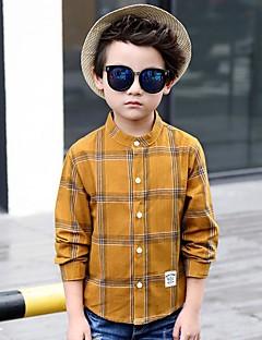 Effen Katoen Rayon Polyester Herfst Lange mouw Jongens Overhemd