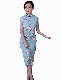 Et-Stykke/Kjoler Klassisk og Traditionel Lolita Vintage Inspireret Cosplay Lolita Kjoler Trykt mønster Vintage Uden ærmer Cheongsam Til