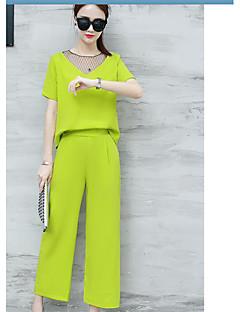 Dames Eenvoudig Informeel Lente Zomer T-Shirt Pantalon Kostuums,Dagelijks Causaal Effen Met Textuur Ronde hals Korte mouw Stijlvol