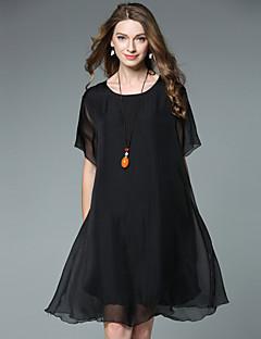 Damen Lose Chiffon Kleid-Ausgehen Einfach Solide Rundhalsausschnitt Asymmetrisch Kurzarm Seide Sommer Hohe Hüfthöhe Unelastisch Dünn