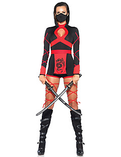 billige Voksenkostymer-Ninja Cosplay Kostumer Party-kostyme Dame Halloween Festival / høytid Halloween-kostymer Drakter Rød Svart Lapper