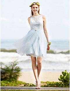 cheap Imperial Blue-A-Line Bateau Neck Knee Length Lace Tulle Bridesmaid Dress with Sash / Ribbon Crystal Brooch by LAN TING BRIDE®