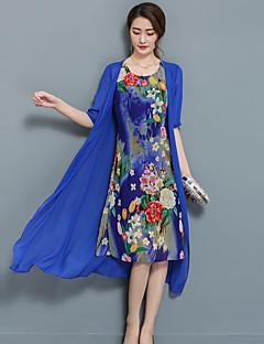 レディース ストリートファッション お出かけ プラスサイズ シース ドレス,フラワー ラウンドネック ミディ 半袖 シフォンサテン 夏 ミッドライズ マイクロエラスティック ミディアム