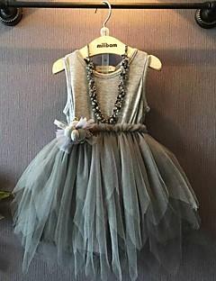 Mädchen Kleid einfarbig Einfarbig Kaninchen-Pelz Baumwolle Acryl Sommer Herbst ½ Ärmel