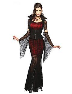 billige Voksenkostymer-Eventyr Vampyrer Cosplay Kostumer Party-kostyme Dame Halloween Festival / høytid Halloween-kostymer Rød/Svart Blonder