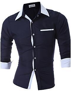 お買い得  メンズシャツ-男性用 日常 春 秋 シャツ, カジュアル シャツカラー ソリッド ナイロン 長袖