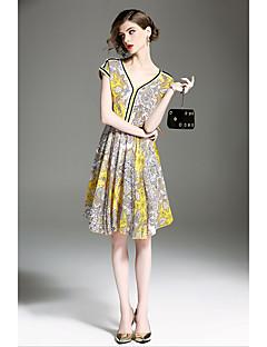 hesapli QIN QIN-Kadın's A Şekilli Salaş Elbise Desen V Yaka