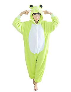 billige Kigurumi-Voksne Kigurumi-pysjamas Frosk Onesie-pysjamas Polar Fleece Grønn Cosplay Til Damer og Herrer Pysjamas med dyremotiv Tegnefilm Festival / høytid kostymer