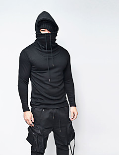 Men's Daily Going out Casual Hoodie Solid Hooded Micro-elastic Cotton Polyester Long Sleeve Winter