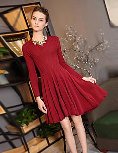 Χαμηλού Κόστους BLUEOXY-Γυναικεία Εκλεπτυσμένο Swing Φόρεμα - Μονόχρωμο Πάνω από το Γόνατο