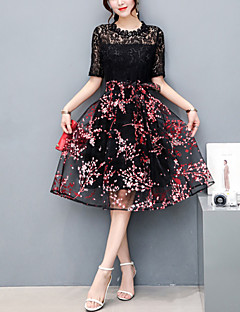 Women's Party Going out Cute Slim Thin A Line Lace Dress Patchwork Embroidered Knee-length Short Sleeve Polyester Tulle Netting Summer
