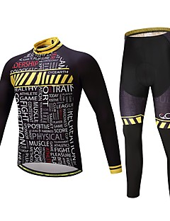 חולצה וטייץ לרכיבה יוניסקס שרוול ארוך אופניים מדים בסטים שמור על חום הגוף עבה פוליאסטר סיליקון גיזות LYCRA® חורף רכיבה על אופניים/אופנייים