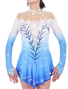 Eiskunstlaufkleid Damen Mädchen Eiskunstlaufkleider Blasses Blau Elasthan Chinlon Hochelastisch Mit Steinen verziert Strass Leistung warm