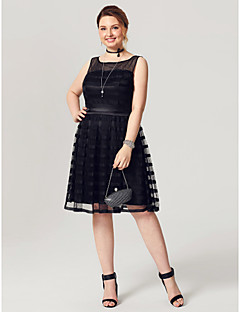 cheap Little Black Dresses-A-Line Fit & Flare Illusion Neckline Knee Length Tulle Stretch Satin Cocktail Party / Prom Dress with Sash / Ribbon by TS Couture®