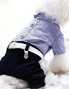 billiga Hundkläder-Hund Jumpsuits Hundkläder Rand Röd Blå Plysch Kostym För husdjur Herr Dam Ledigt / vardag