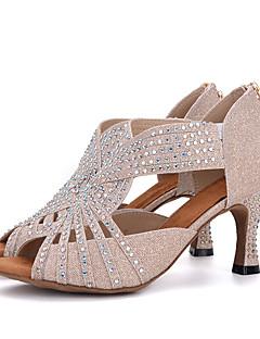 hesapli -Kadın Latince Parıltılı Sandaletler Topuklular Performans Taşlı Toka Kıvrımlı Topuk Altın Pembe Siyah/Beyaz Beyaz/Gümüş 7.5cm
