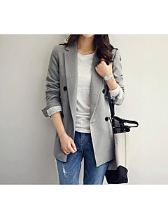 Women's Casual/Daily Simple Autumn/Fall Blazer,Solid Shirt Collar Long Sleeve Regular Cotton