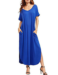 Women's Casual/Daily Simple Loose Dress,Solid V Neck Maxi Short Sleeve Cotton Summer Mid Rise Inelastic Medium