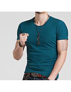 メンズ お出かけ Tシャツ,活発的 ラウンドネック ソリッド コットン 半袖