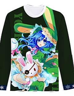 """billige Anime cosplay-Inspirert av Date A Live Cosplay Anime  """"Cosplay-kostymer"""" Cosplay T-skjorte Tegneserie Langermet Topp Til Herre Dame"""