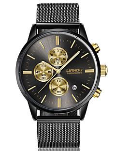 Heren Dress horloge Modieus horloge Kwarts Roestvrij staal Band Zwart Goud