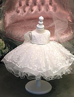 נסיכה הברך אורך השמלה פרח ילדה - כותנה טול תכשיט הצוואר עם תחרה rhinestones ידי bflower