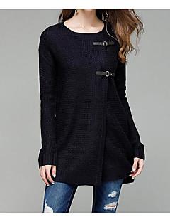 Dames Casual/Dagelijks Eenvoudig Lang Vest Effen-Ronde hals Lange mouw Acryl Herfst Winter Medium Micro-elastisch