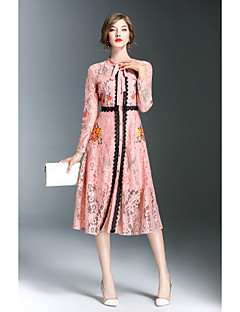 Damen Hülle Kleid-Lässig/Alltäglich Solide Druck Stickerei Rundhalsausschnitt Knielang Langarm Polyester Herbst Mittlere Hüfthöhe
