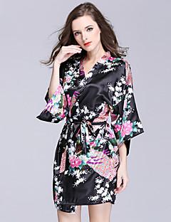 baratos Pijamas Femininos-Mulheres Cetim & Renda Roupão Roupa de Noite - Estampado, Floral
