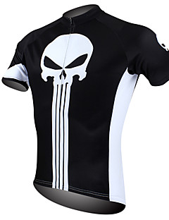 cheap Cycling Jerseys-ILPALADINO Men's Short Sleeves Cycling Jersey - Black/White Skull Bike Jersey, Quick Dry, Ultraviolet Resistant, Breathable, Spring Summer