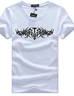 Χαμηλού Κόστους Hot White Summer-Ανδρικά T-shirt Ενεργό Μονόχρωμο Στρογγυλή Λαιμόκοψη Λεπτό / Κοντομάνικο