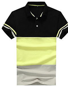 Men's Going out Street chic Polo,Color Block Shirt Collar Short Sleeves Others