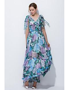 tanie SS 18 Trends-Damskie Luźna Pochwa Sukienka - Kwiaty, Warstwy materiały Dekolt w kształcie litery U Maxi