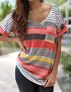 Women's Going out Casual T-shirt,Color Block V Neck Short Sleeves Polyester