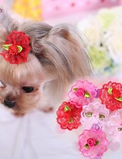 billiga Hundkläder-Katt Hund Håraccessoarer Rosetter Hundkläder Ros Röd Rosa Terylen Kostym För husdjur Cosplay Bröllop