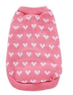 billiga Hundkläder-Hund Kappor Tröjor Jul Hundkläder Hjärta Rosa Akrylik Fiber Kostym För husdjur Herr Dam Fest Ledigt/vardag Födelsedag Cosplay Mode