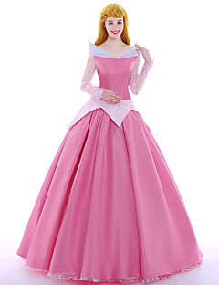 billige Halloweenkostymer-Prinsesse Eventyr Queen Aurora Cosplay Kostumer Party-kostyme Maskerade Film-Cosplay Rosa Kjole Underskjørt Parykker Jul Halloween