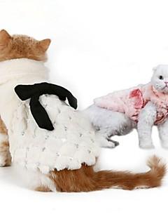 billiga Hundkläder-Katt / Hund Tröja Hundkläder Enfärgad Vit / Rosa Pälsimitation Kostym För husdjur Fest / Håller värmen / Nyår