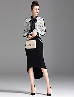 Women's Daily Casual Fall Shirt Skirt Suits,Floral Shirt Collar Long Sleeve Cotton Micro-elastic