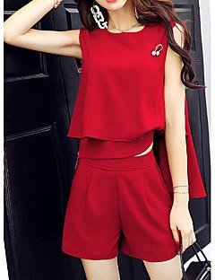 Dames Eenvoudig Zomer T-Shirt Pantalon Kostuums,Casual/Dagelijks Effen Ronde hals Mouwloos