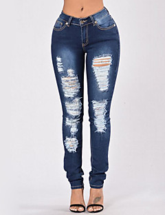 Women's High Rise Stretchy Skinny Jeans Pants,Sexy Street chic Solid Polyester Summer Fall