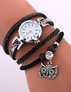 billige Armbåndsure-Dame Quartz Armbåndsur Kinesisk Vandafvisende / Kreativ PU Bånd Afslappet / Elegant / Mode Sort / Hvid / Blåt / Kaki