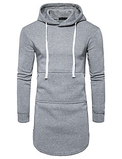 Men's Daily Hoodie Solid Hooded Micro-elastic Polyester Long Sleeve Winter Fall
