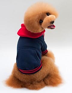 billiga Hundkläder-Katt Hund Kappor Huvtröjor Hundkläder Enfärgad Vit Grå Blå Bomull/Linneblandning Kostym För husdjur Ledigt/vardag Håller värmen Sport
